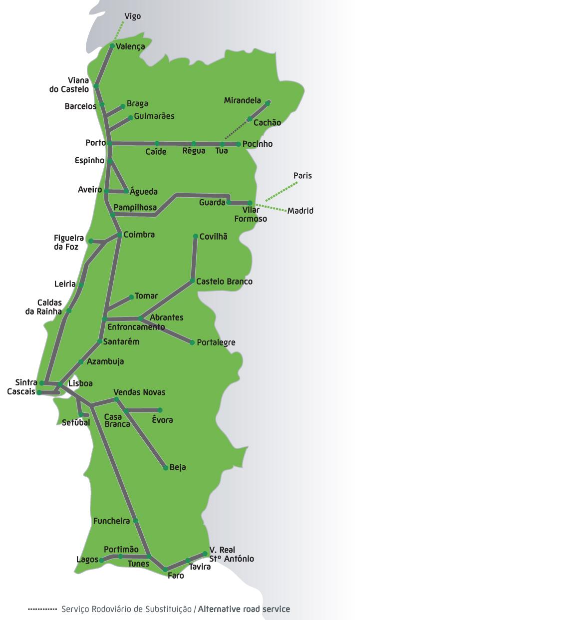 Mapa dos Comboios (Trens) de Portugal