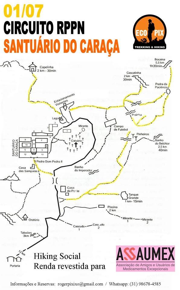 Mapa do Circuito RPN, no Santuário do Caraça
