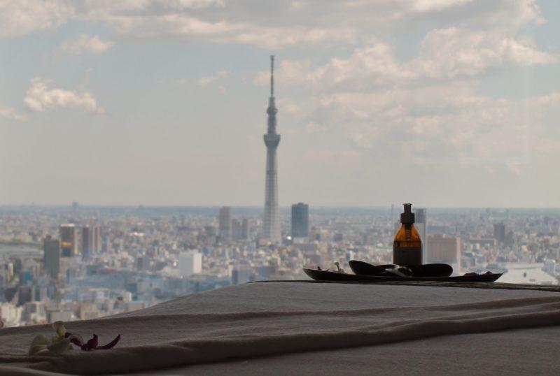 Vista para Tokyo Skytree do Spa do Mandarin Oriental, Tokyo