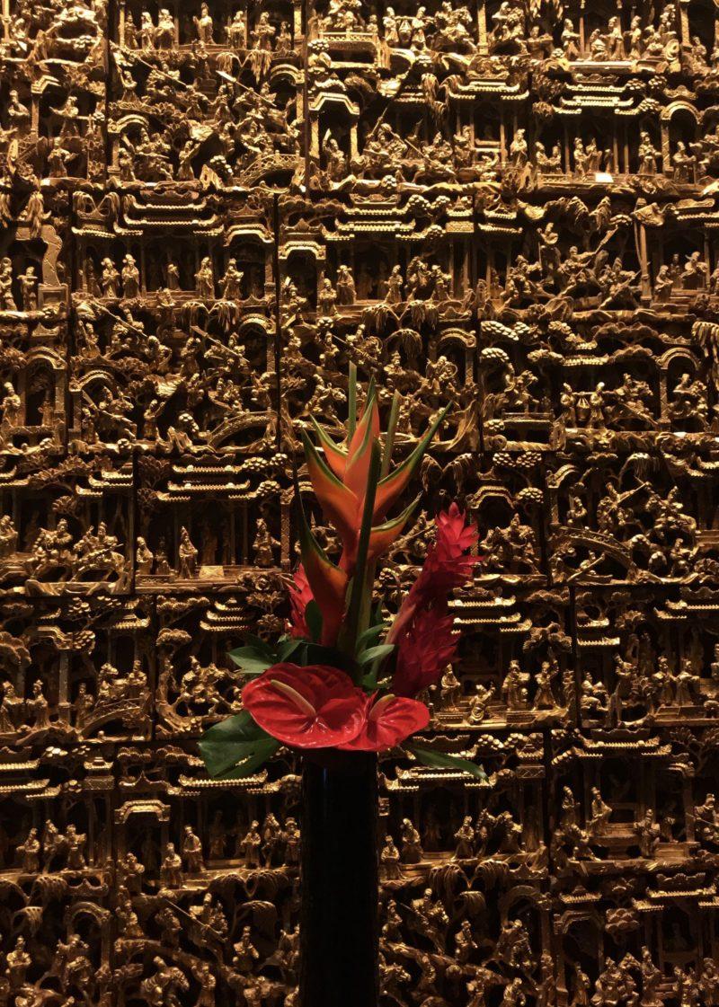 Detalhes da decoração no interior do Mandarin Oriental, Singapore